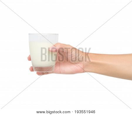 Hand holding glass of milk isolated on white background with clipping path