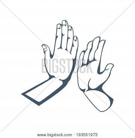 Concept of gestures and signals by hands: sign five, clap in the palm of your hand, friendship, support, good mood. Illustration sketch of human hands, isolated on white background.