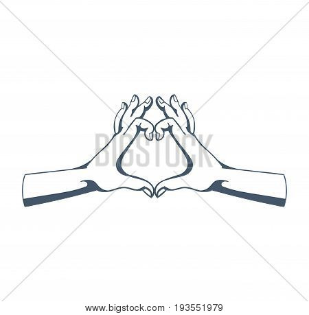 Concept of gestures, hand signals: gesture in shape of heart, symbolizing love, affection, sympathy, warmth for person, good attitude. Illustration sketch of human hands, isolated on white background.
