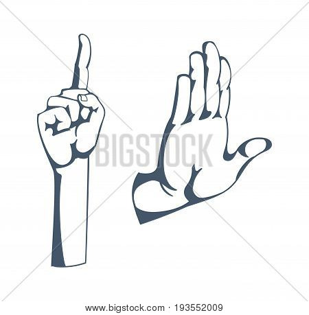 Concept of gestures and signals: a sign of attention, stop, thinking, warning, greeting, clever idea. Hand depicts gestures. Illustration sketch of human hands, isolated on white background.