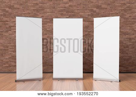 Three Blank Roll Up Banner Stands