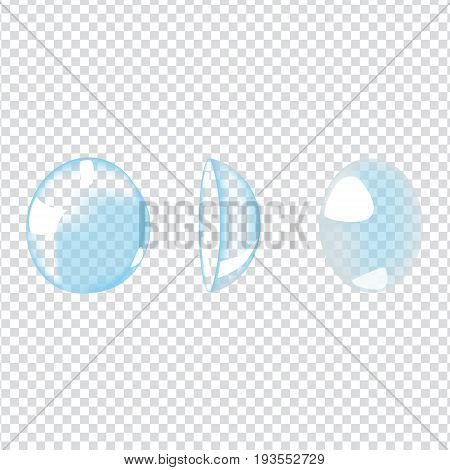 Vector illustration with photo realistic contacts lenses on transparent background