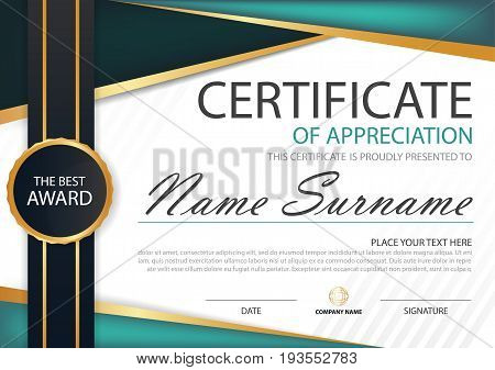 Green black label abstract Elegance horizontal certificate with Vector illustration white frame certificate template with clean and modern pattern presentation