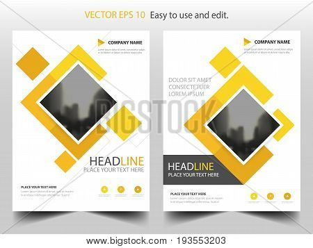 Yellow square business Brochure Leaflet Flyer annual report template design book cover layout design abstract business presentation template a4 size design