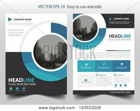 Blue circle business Brochure Leaflet Flyer annual report template design book cover layout design abstract business presentation template a4 size design