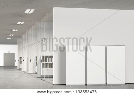 Blank Roll Up Banner In Modern Office