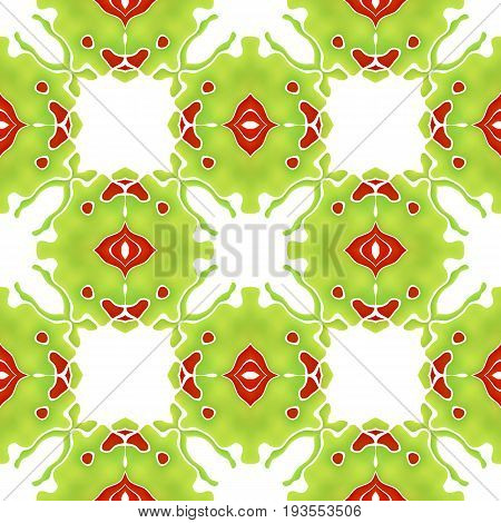 Seamless organic colorful abstract mosaic green pattern floral unusual pattern also tiles making strange mystical green creature with red eye