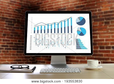 Statistics Analysis Business Data Diagram Growth Increase Marketing Concept , Digital Tablet And Gra