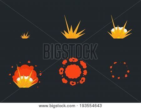Explode Effect Animation With Smoke. Cartoon Bang Explosion Frames