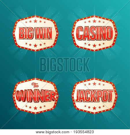 Casino, Jackpot, The Winner, Big Win, Banners Collection. Retro Light Frames With Glowing Lamps
