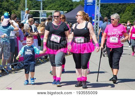 Southampton, Uk - 2 July 2017: Race for Life. This annual race is run by women and children to raise money for Cancer Research and to honour those who have died or are suffering  from the disease.