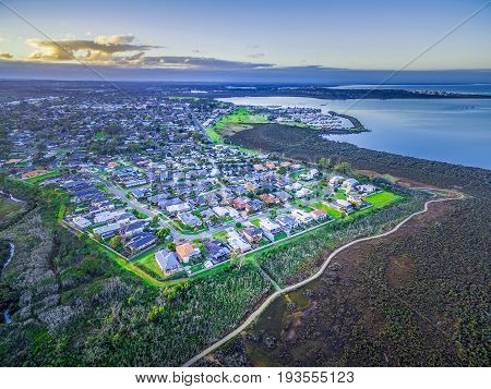 Aerial view of Hastings suburb and Westernport Marina at dusk. Melbourne Australia