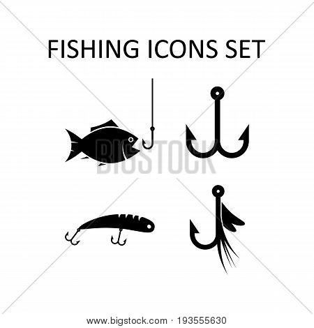 Fishing icons set. Flat design silhouette vector signs