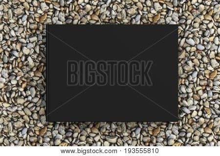 Blank Book Cover Mockup On Gravel
