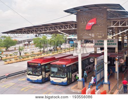 Penang, Malaysia - May 12, 2017: Weld Quay Ferry & Bus Terminal is the main bus terminal for George Town, Penang, Malaysia.That terminal is located adjacent to Pengkalan Raja Tun Uda, the ferry jetty.