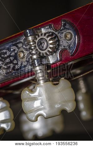 close up the tuning pegs of a classic guitar. music