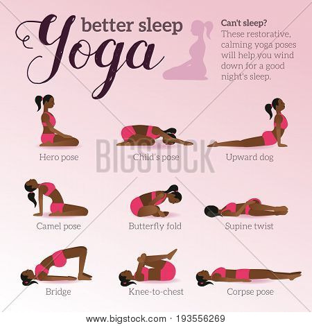 Yoga Poses For Better Sleep. Vector Illustrations With Woman In Sport Bra And Shorts Doing Asanas Fr