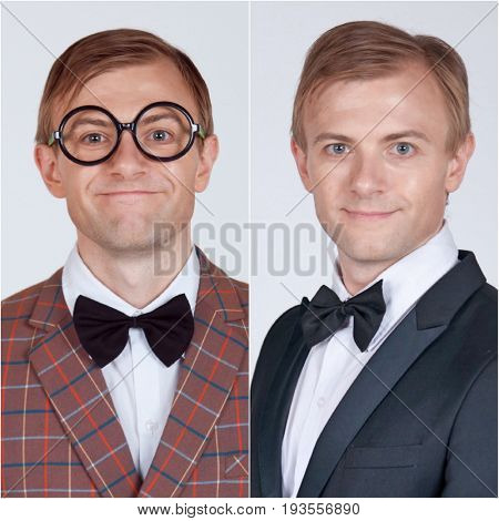 Before and After of nerdy geek man and good looking casanova wearing suit