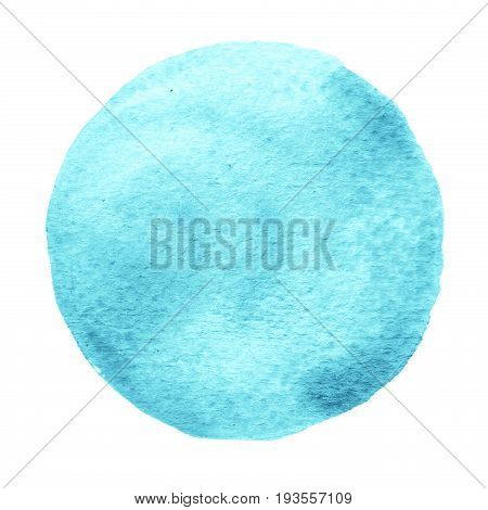 Blue mint circle painted with watercolor isolated on a white background. Watercolour backdrop and texture. Sample trendy watercolor colors 2017. Spicy mustard color