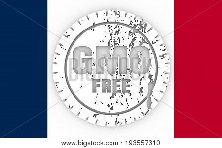 Distressed stamp icon. Graphic design elements. 3D rendering. GMO free text. Flag of the France
