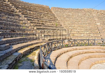 Stone steps in the Small Theater (Teatro Piccolo) of Pompeii - Campania Italy