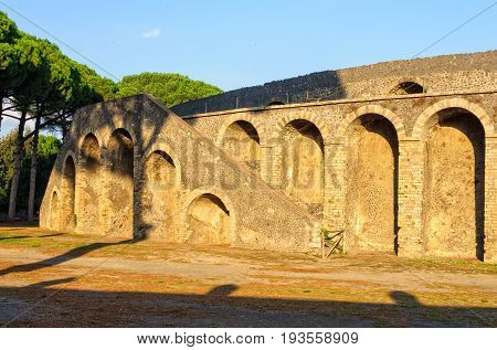 External stairway of the oldest known amphitheater - Pompeii, Campania, Italy