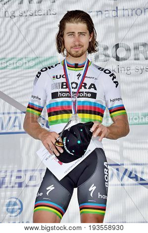 ZIAR NAD HRONOM, SLOVAKIA - JUNE 26, 2017: The Slovak and Czech National road cycling championship. Medail ceremony. Peter Sagan, Bora Hansgrohe cycling team with silver medail. Free public meeting