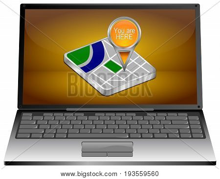 Laptop Computer with You are Here Map Pointer on orange desktop - 3D illustration