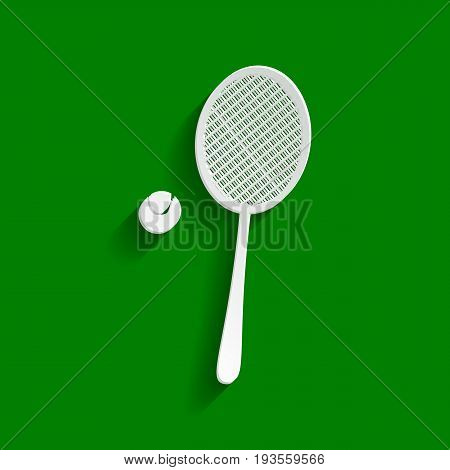 Tennis racquet with ball sign. Vector. Paper whitish icon with soft shadow on green background.