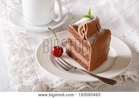 Beautiful Festive Chocolate Cake With Coffee Cream Close-up. Horizontal
