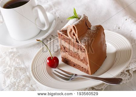 Delicious Piece Of Chocolate Cake And Coffee Close-up. Horizontal