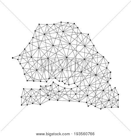 Map of Senegal from polygonal black lines and dots of vector illustration