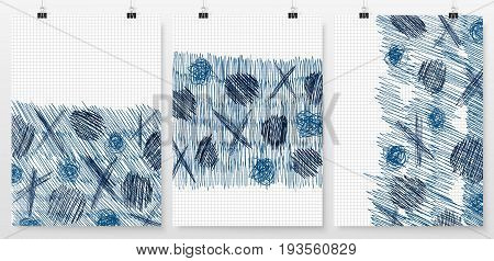 Poster backgrounds set. Abstract layouts collection. Cover or banner design. Posters on binder clips mockup. Business backdrops design. Scribble doodles background.