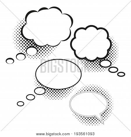 Clouds of thoughts, isolated on white, of different round shape. Collection blank template comic text speech bubble halftone dot background style pop art. Dialog empty cloud, space box, set, balloon.