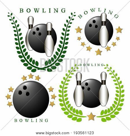 Abstract vector illustration logo strike bowling, flying ball on background.