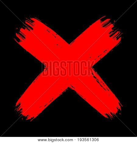 Vector grunge vintage brush stroke no decline sign. Red curved cross. Isolated check mark object on dark black background. Flat mark graphic design. Aggressive blood color symbol.