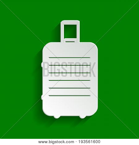 Baggage sign illustration. Vector. Paper whitish icon with soft shadow on green background.