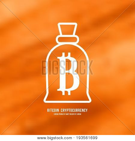 Stock vector emblem of bitcoin cryptocurrency. White print on blurred background