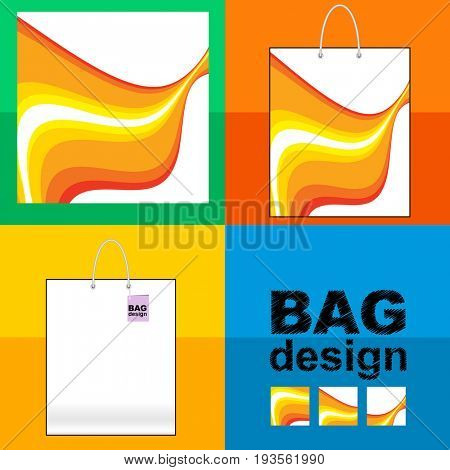Template shopping Bag: abstract background made of  orange wave lines patterns.