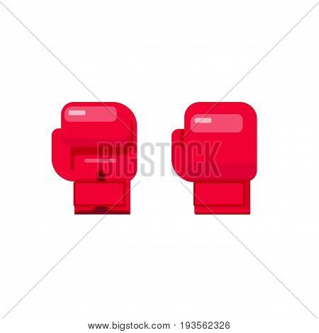 Boxing gloves vector illustration isolated on white background, flat cartoon gloves for box icon