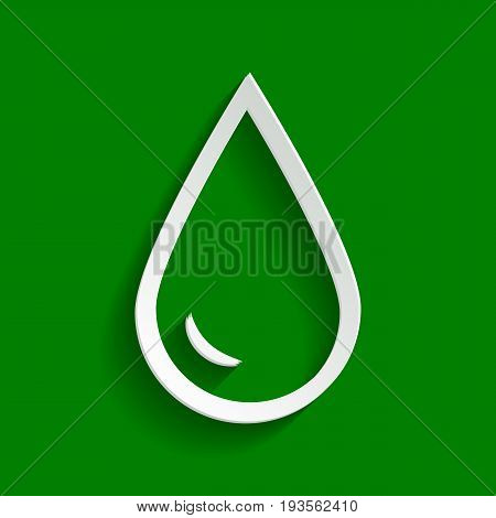 Drop of water sign. Vector. Paper whitish icon with soft shadow on green background.