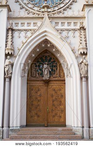Gothic chapel in Peterhof. St Petersburg. Russia.