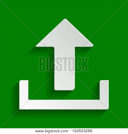 Upload sign illustration. Vector. Paper whitish icon with soft shadow on green background.