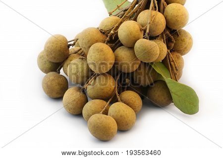 Tropical summer Longan fruits on white background.