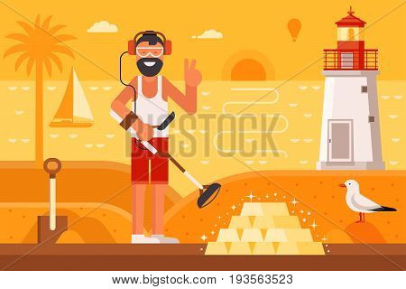Beach treasure hunter using metal detector on seashore background.  Success and winning new possibilities concept. Smiling beard summer man finding gold bars on sea coast with lighthouse by sunset.