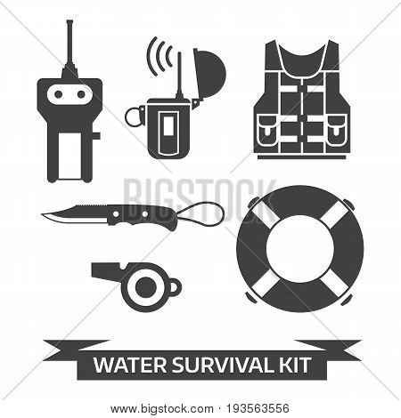 Water survival kit. Safety gear essentials in outline design. Life vest, EPIRB, portable finder, lifebuoy, whistle and knife isolated on white background. Emergency protection staff vector icons.