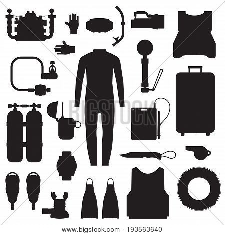 Scuba elements and snorkeling gear silhouette set. Diving kit. Scuba-diving vector icons in outline design. Underwater activity accessories in black and white. Wetsuit, mask, snorkel, fins, oxygen.