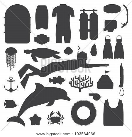Snorkeling set of outline elements. Snorkeler man silhouette with snorkel mask, sea life objects and scuba accessories. Skin diving icons. Summer underwater activity appliances.
