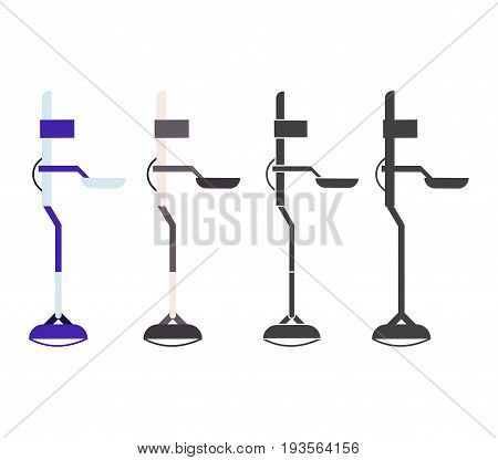 Beach metal detector vector icons in flat and outline design.