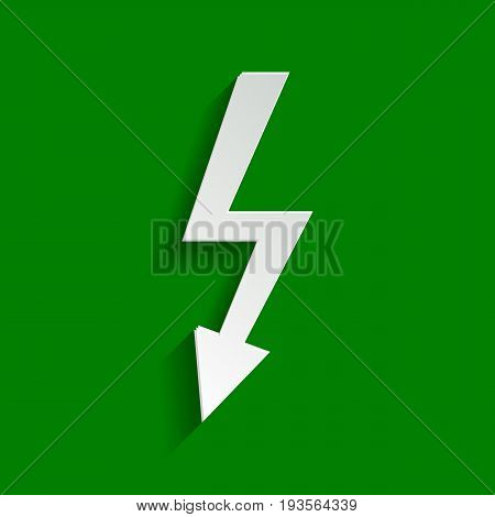 High voltage danger sign. Vector. Paper whitish icon with soft shadow on green background.